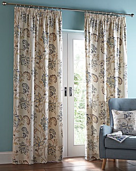 Jacobean Pencil Pleat Lined Curtains