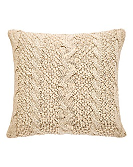 Chunky Knit Filled Square Cushion
