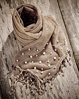 Faux Pearl and Lace Scarf