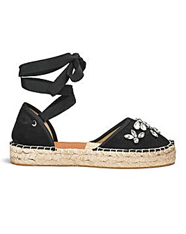 Sole Diva Jewelled Wrap Espadrille E Fit
