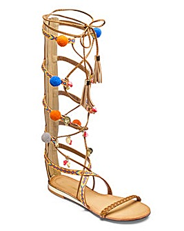 Glamorous Pom Pom Gladiator Sandal D Fit