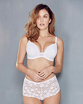 Daisy Lace Plunge Wired White Bra