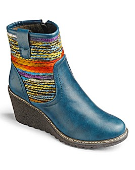 Heavenly Soles Wedge Ankle Boots E Fit