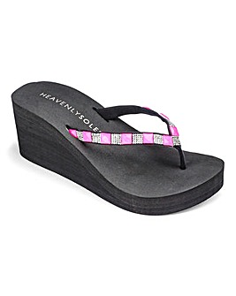 Heavenly Soles Wedge Flip Flops E Fit