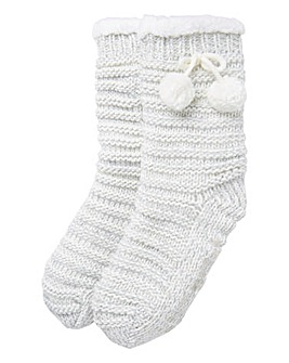Totes Rib Knit Pom Slipper Socks