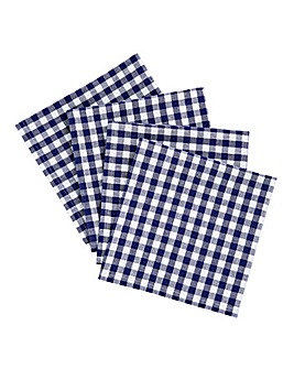 Gingham Check Cotton Napkins Set of 4