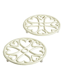 Cast Iron Trivet Set of 2 Cream 15cm