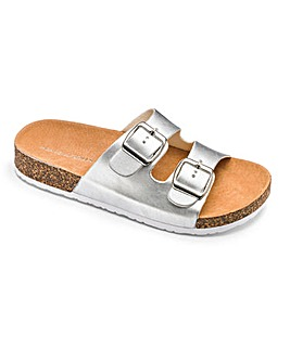 Heavenly Soles Buckle Mule Sandals E Fit