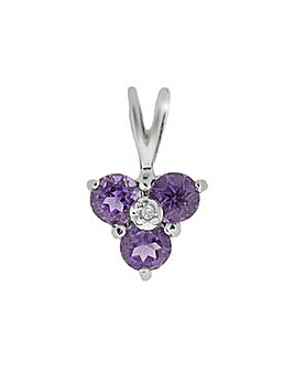 9ct W/G Amethyst & Diamond Pendant