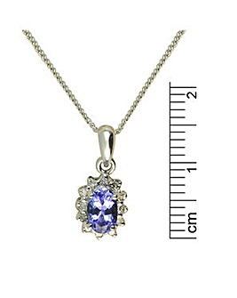 9ct W/G Tanzanite & Daimond Pendant