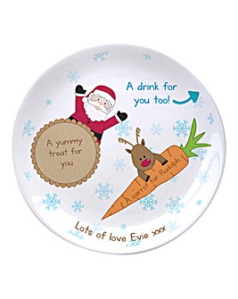 Personalised Santa and Rudolph Plate