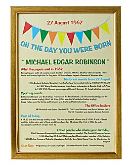 Personalised On The Day You Were Born