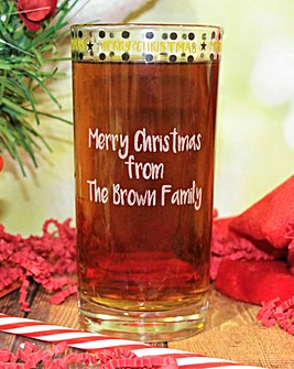 Personalised Merry Xmas Hi Ball Glass