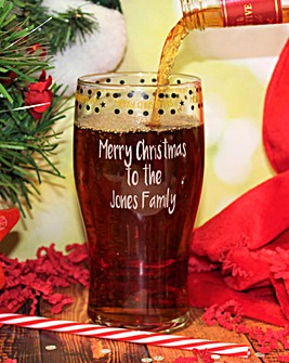 Personalised Merry Christmas Pint Glass
