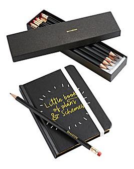 Black Notebook & Personalised Pencils