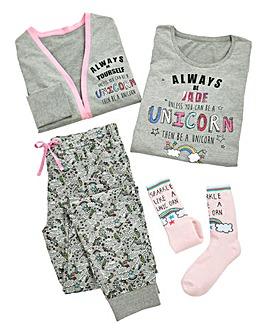 Pers Always Be a Unicorn 4pc Pyjama Set