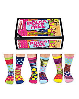 Polka Face Oddsocks for Ladies