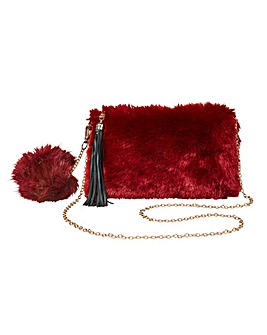 Faux Fur Chain Bag and Pom Pom Set