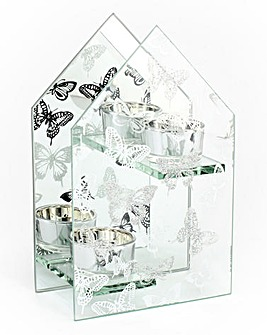 Silver Butterfly Double Tealight Holder