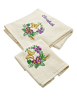 Personalised Butterfly Hand Towel Set