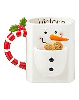 Personalised Snowman Biscuit Mug