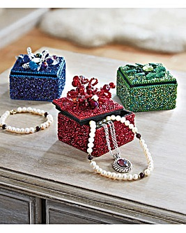 Beaded Trinket Boxes Set of 3