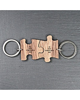 Personalised Couples Jigsaw Keyrings