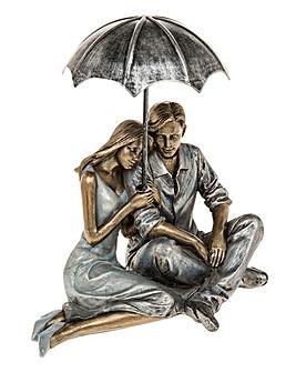 Rainy Day Romance Sitting Couple