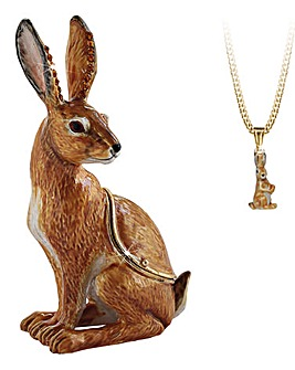 Hare Secret Trinket Box and Necklace