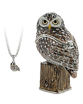 Owl Secret Trinket Box and Necklace