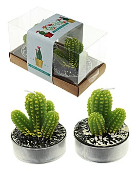 Set 2 Cactus Tea Light Candles