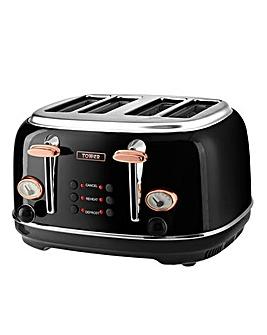 Tower 4 Slice Black Toaster