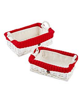 Split Willow Set Of 2 rectangular Basket