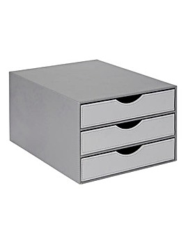 Faux Leather Two-Tone 3 Drawer Desk Unit