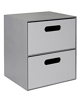 Faux Leather Two-Tone 2 Drawer Unit