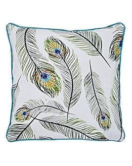 Pluma Peacock Feather Print Cushion