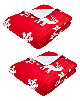 Reindeer Fleece Throw Pair