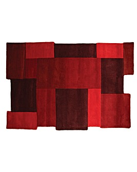 Hand-carved Wool Abstract Blocks Rug