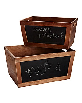 Wooden Crate Set of 2 with Blackboard