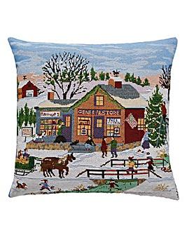 Christmas Scene Tapestry Cushion