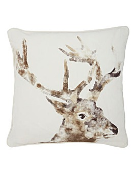 Watercolour Stag Print Cushion