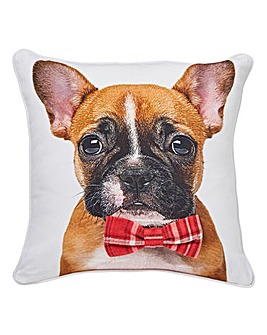 Archie Puppy Cushion with Bow Tie