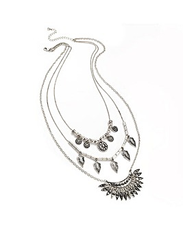 Three Row Silver Colour Chain Necklace
