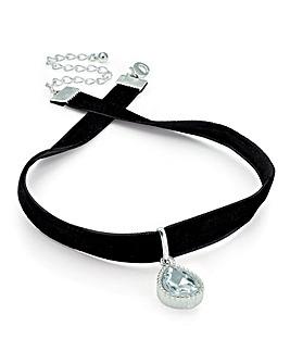 Silver Colour Tear Drop Choker Necklace