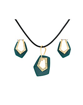 Gold Plated Chunky Green Pendant Set