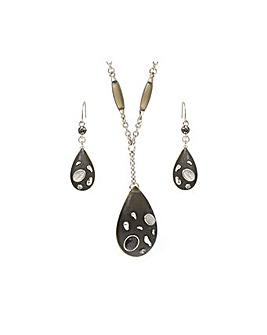 Rhodium Chunky Teardrop Necklace Set