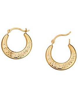 9ct Gold Princess Creole Earrings
