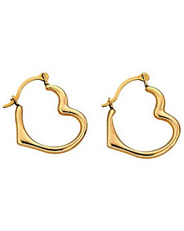 9ct Gold Heart Creole Earrings