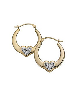 9ct Gold Crystal Heart Creole Earrings