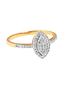 9ct YG 0.25ct Marquise Shaped Ring